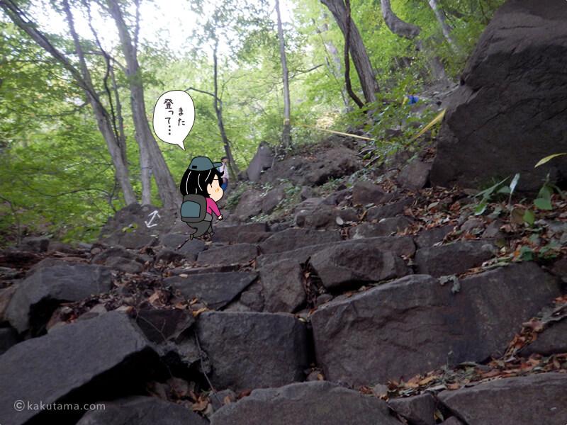 石の階段を登る