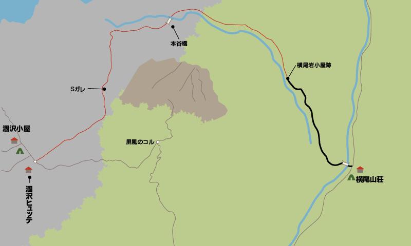 横尾大橋から涸沢ヒュッテまでの地図_0001