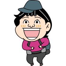 笑顔の登山者のイラスト