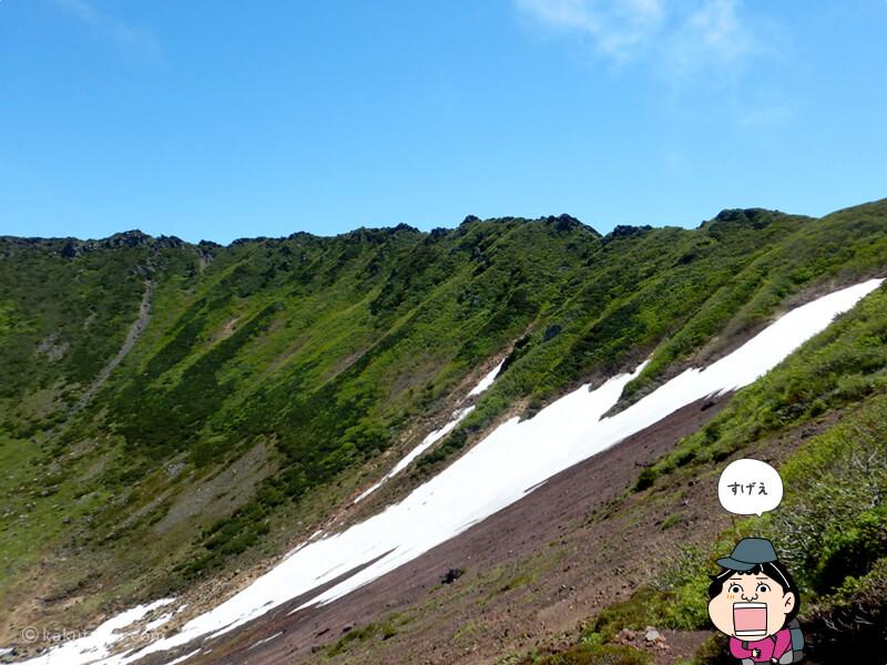 羊蹄山お釜の残雪