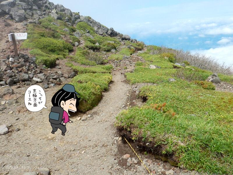 京極コースへの分岐
