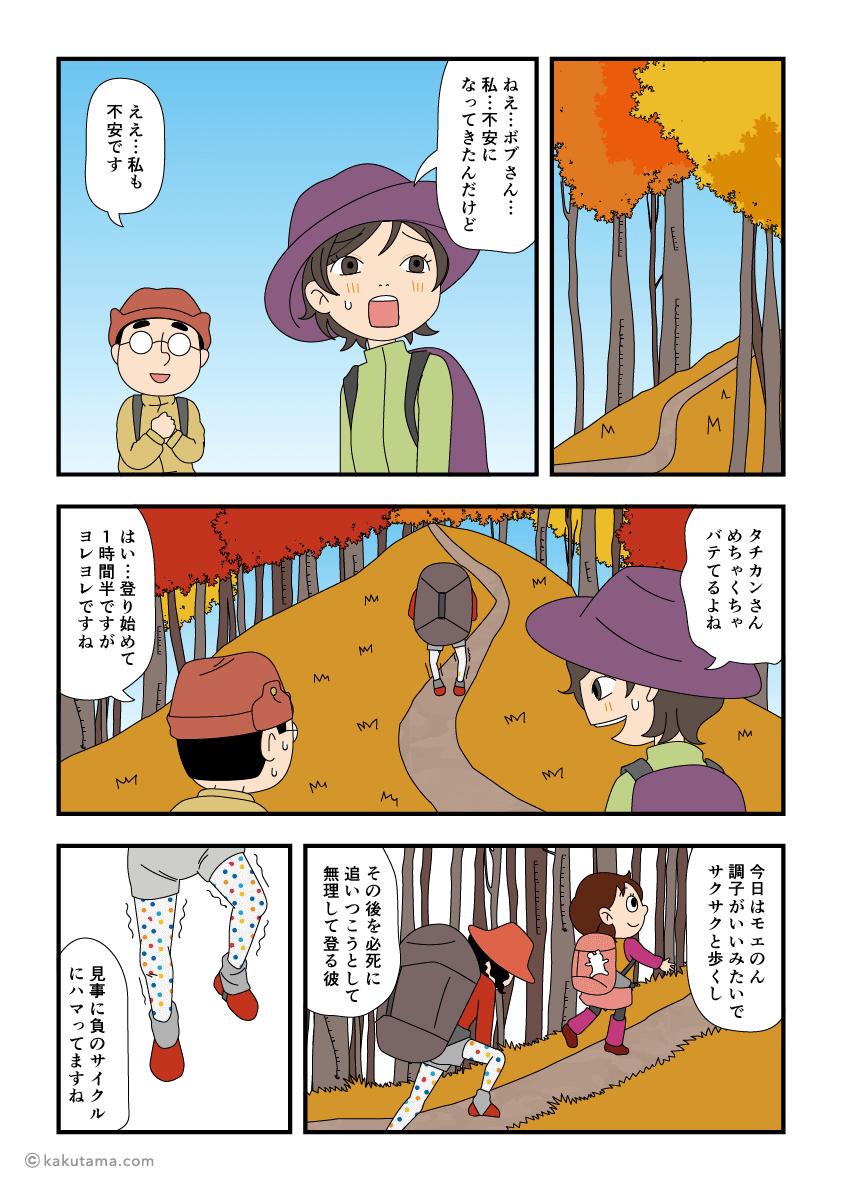 登山装備を分担しようとする漫画1