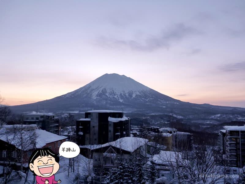 にせこひらふスキー場から夕暮れの羊蹄山を見る