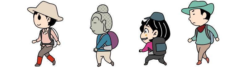 登山者全員集合のイラスト
