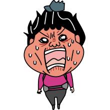 怒る登山者のイラスト