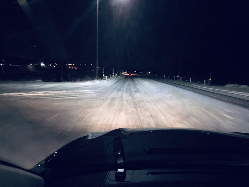 滑りそうな雪道
