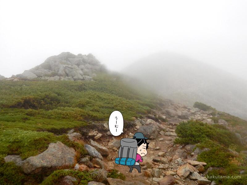 薬師岳へ向かって登る2