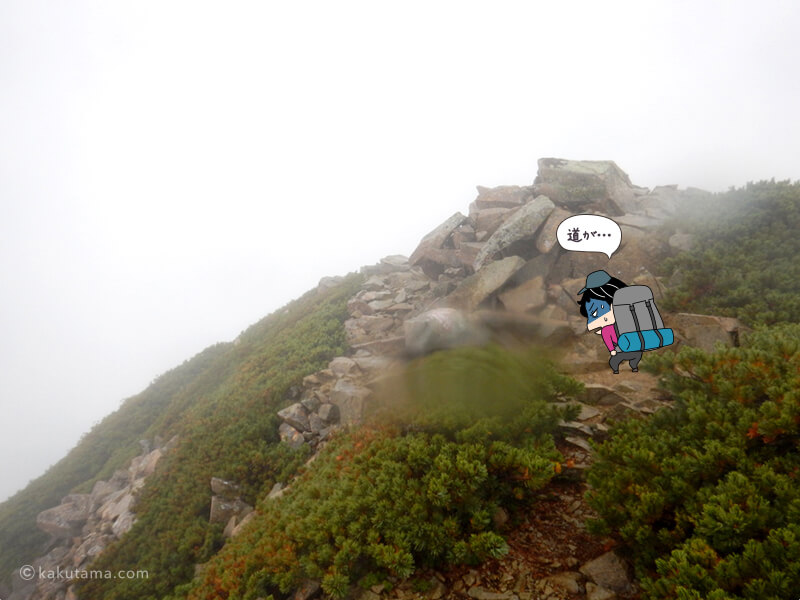 雨の中登る