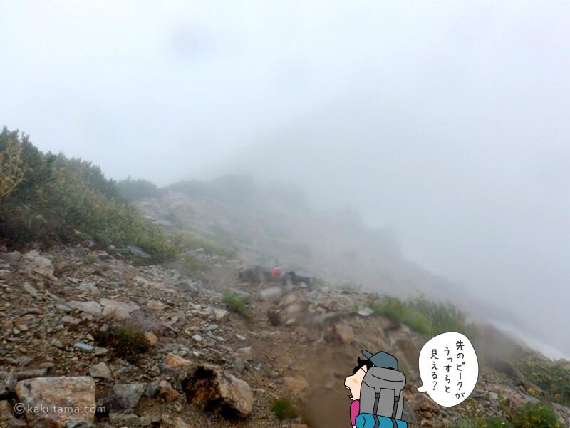 雨が降り続く山
