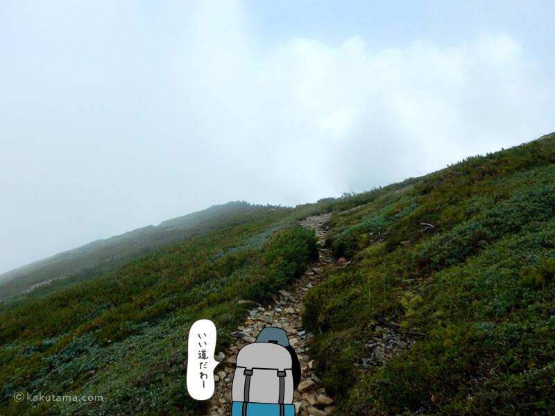 緩やかな登りが始まる2