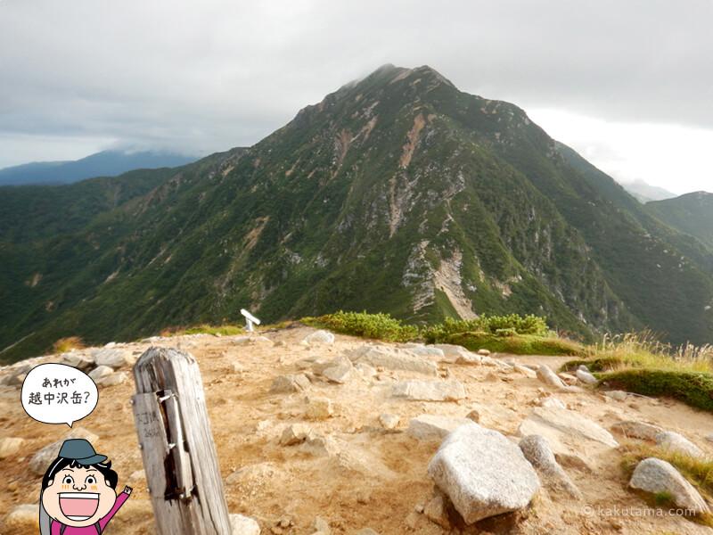 スゴの頭から越中沢岳を見る