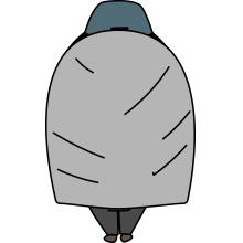ザックカバーをかけた登山者のイラスト