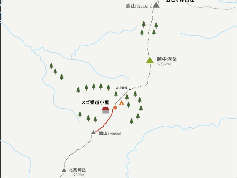 間山からスゴ乗越までのイラストマップ