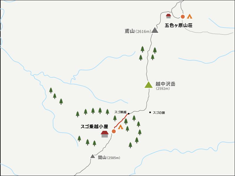 スゴ乗越から越中沢岳までのイラストマップ_1