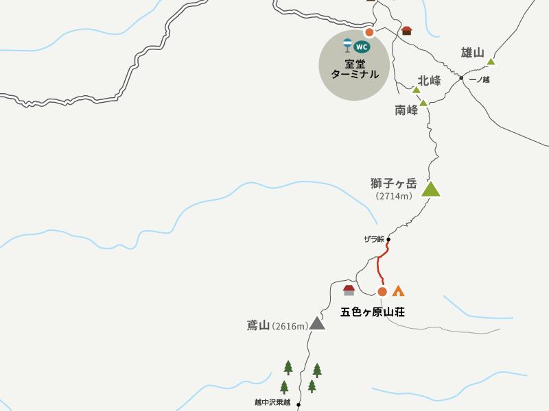 五色ヶ原キャンプ場からザレ場までのイラストマップ