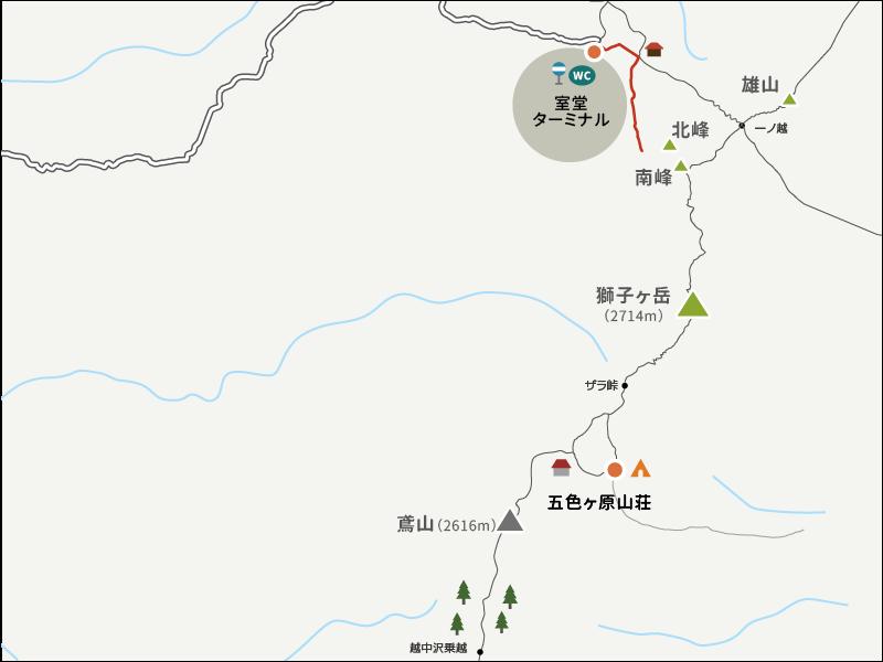 浄土山登山口から室堂ターミナルまでのイラストマップ