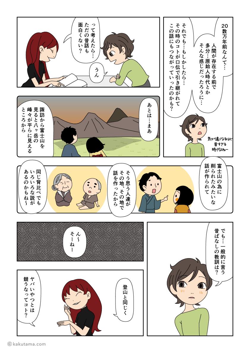 山の背比べの背景を考える漫画4