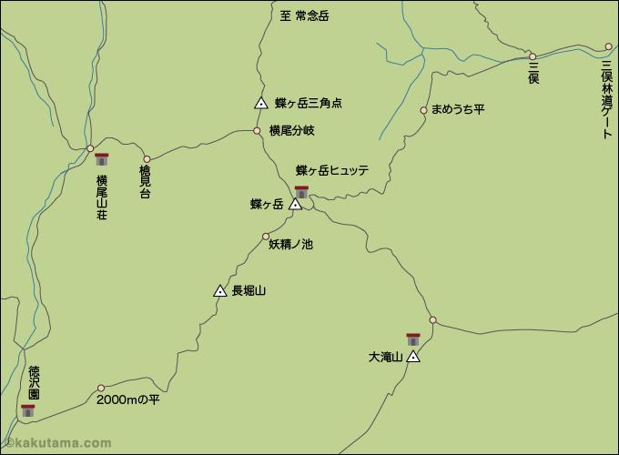 蝶ヶ岳コースマップのイラスト