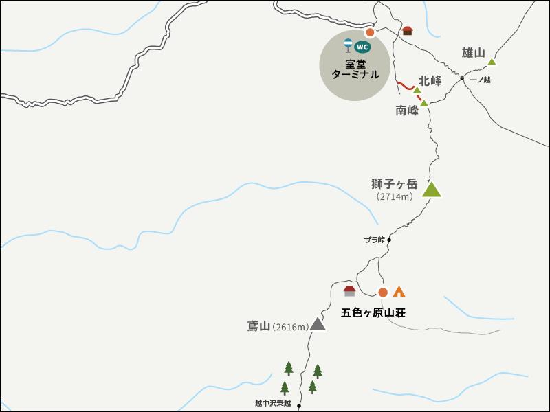 浄土山から浄土山登山口までのイラストマップ