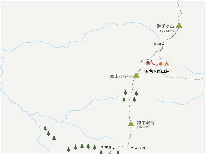 五色ヶ原キャンプ場までのイラストマップ