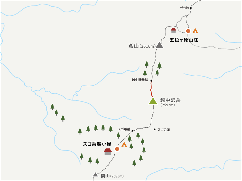 地図越中沢岳から越中乗越までのイラストマップ