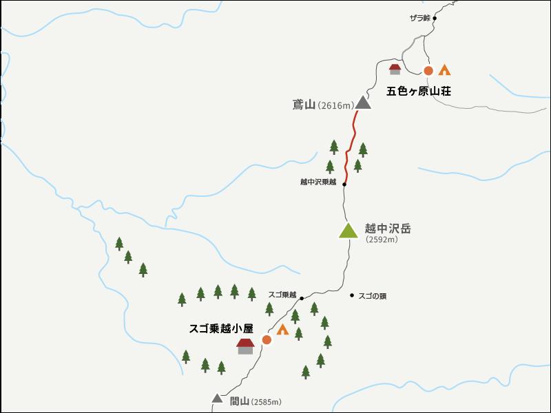 越中乗越から鳶山までのイラストマップ