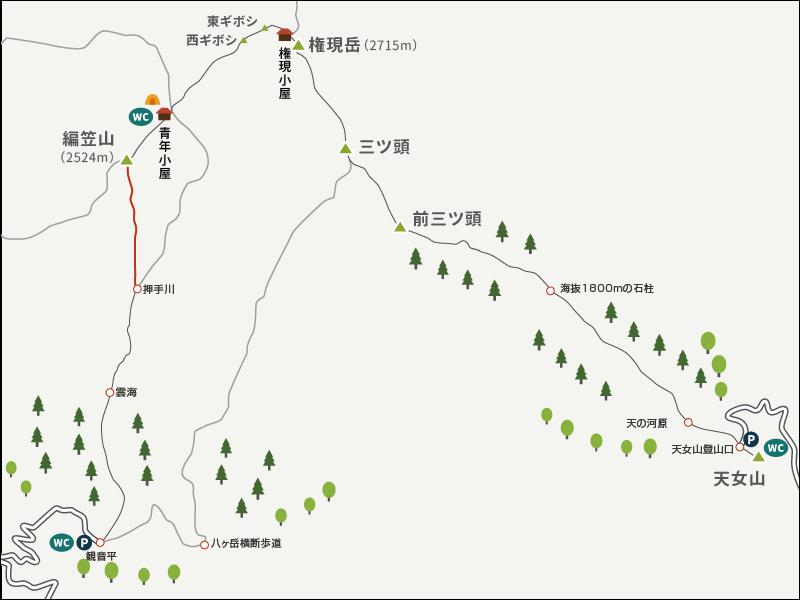 権現岳から編笠山イラストマップ2