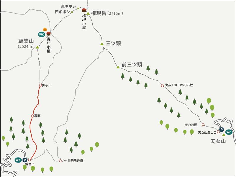権現岳から編笠山イラストマップ3
