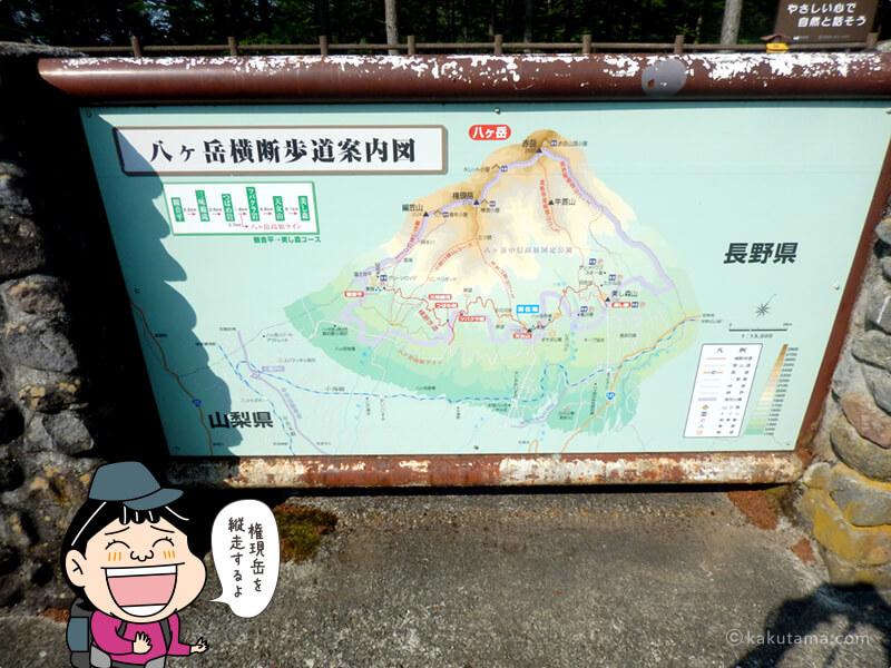 赤岳を中心としたマップ