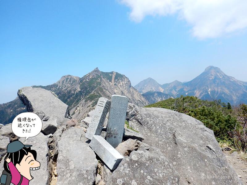 三ッ頭から権現岳を見る