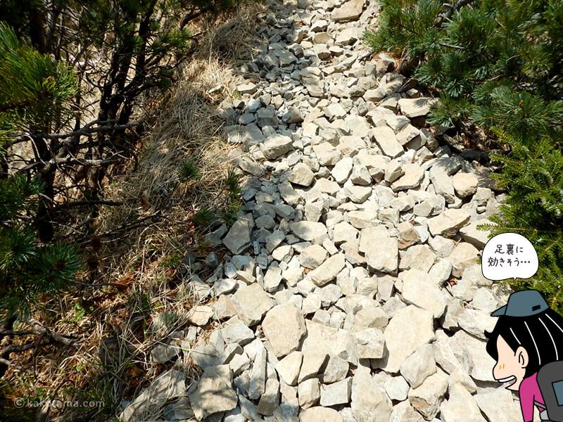 足の裏にくる岩