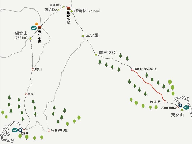 イラストマップ_権現岳2_天ノ河原の広場から海抜1800mまで