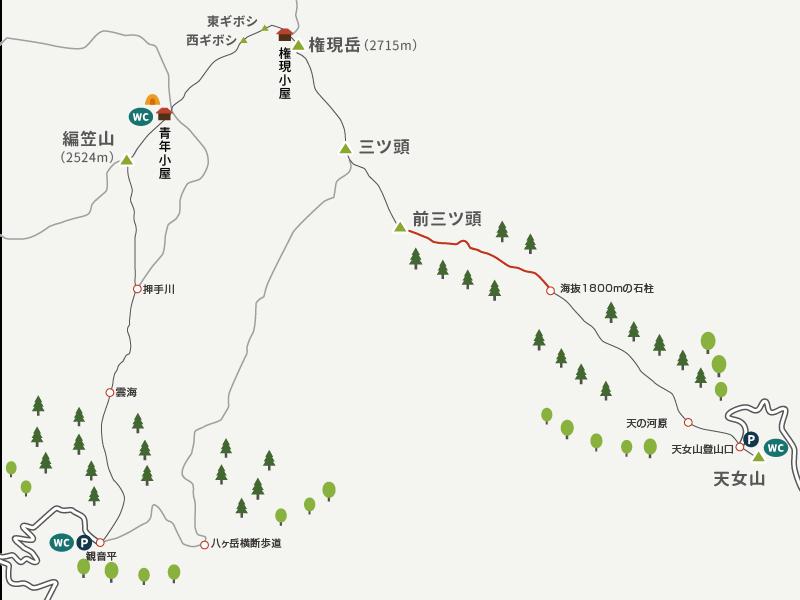地図イラストマップ_権現岳_3_海抜1800mから前三ッ頭まで