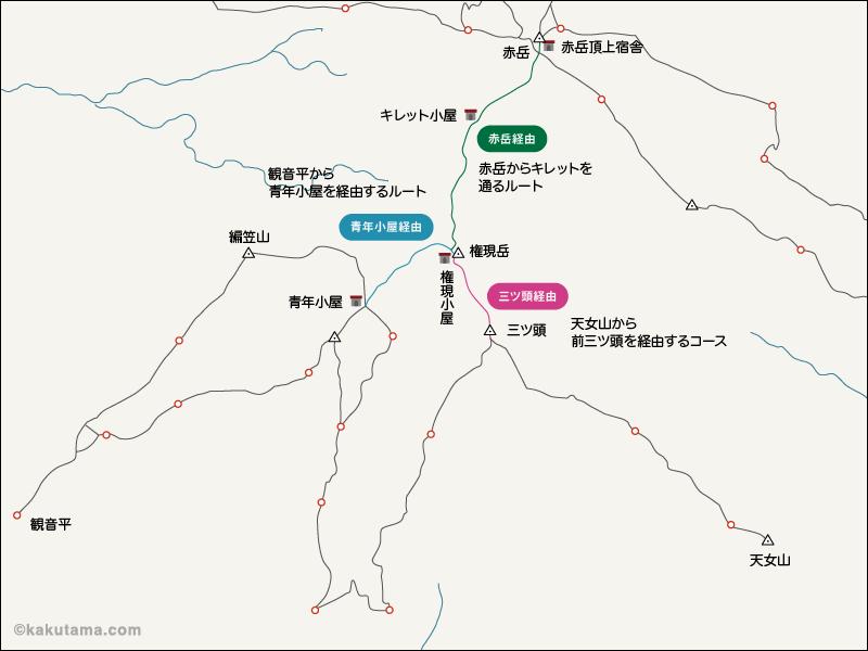 権現岳のイラストマップ