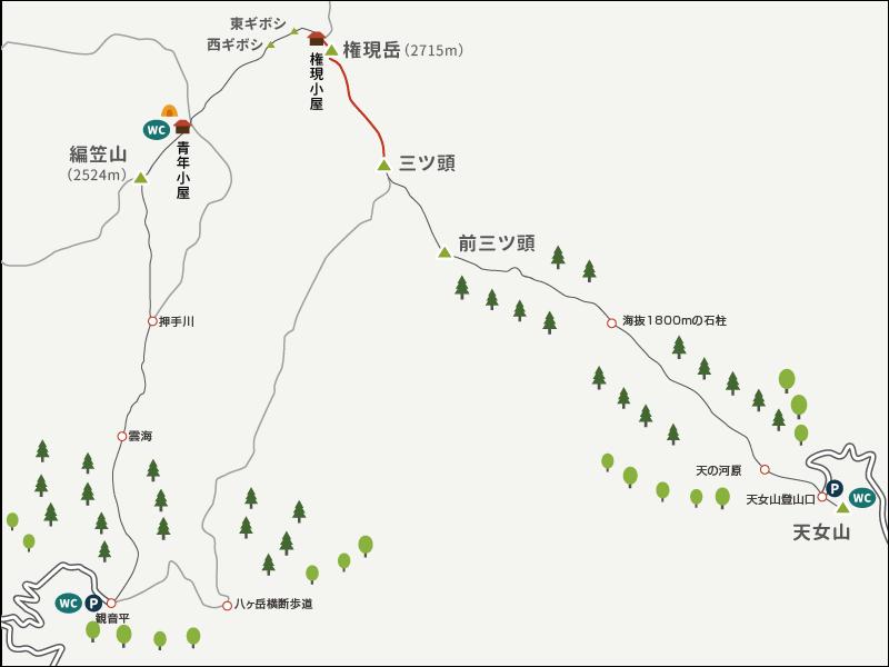 地図イラストマップ_権現岳