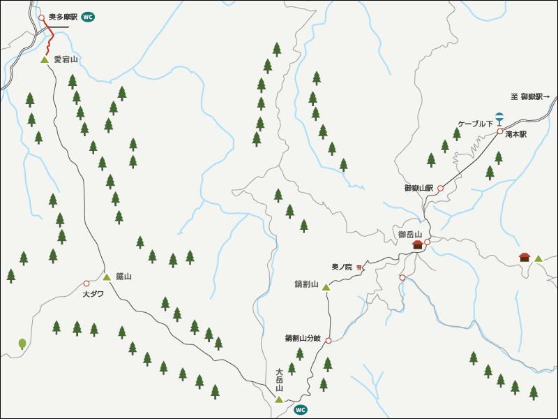 大岳山から奥多摩駅までのイラストマップ3