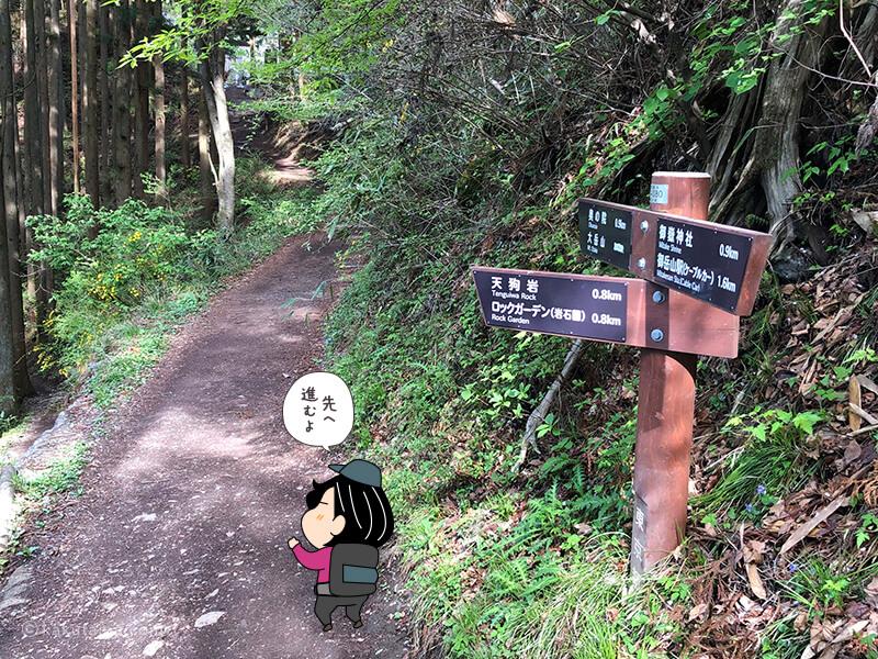 大岳山方面への道標