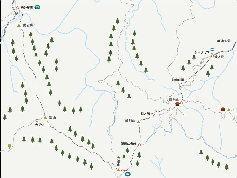 大岳神社から大岳山までのイラストマップ