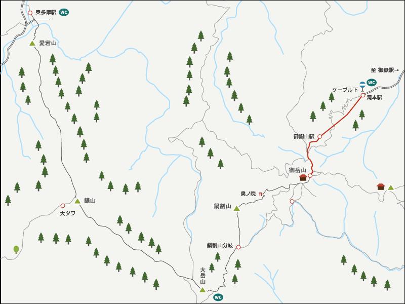 御岳山から奥多摩駅までのイラストマップ1