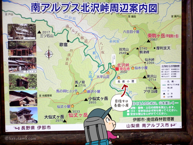北沢峠周辺案内図