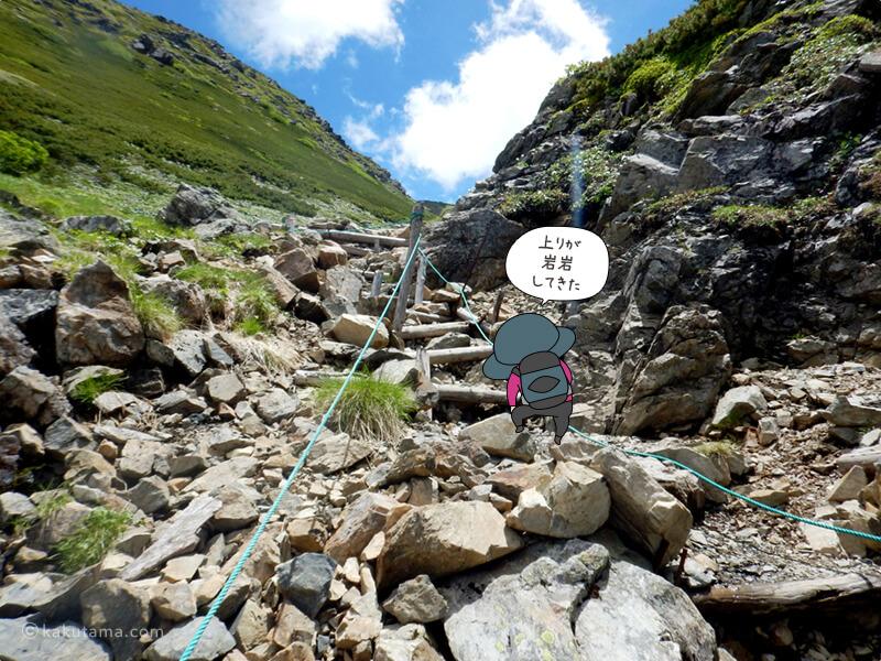 ひたらすら岩場を登る