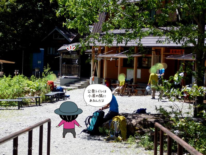 長衛小屋の公衆トイレの場所