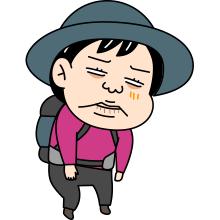 しんどい顔の登山者のイラスト