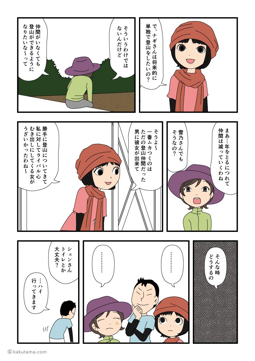 山小屋で休憩しながら雑談する漫画3