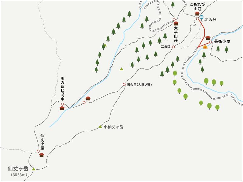 仙丈ヶ岳のイラストマップ1