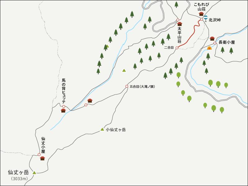 仙丈ヶ岳のイラストマップ2