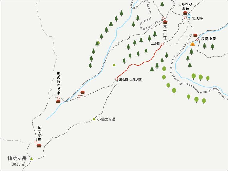 仙丈ヶ岳のイラストマップ3