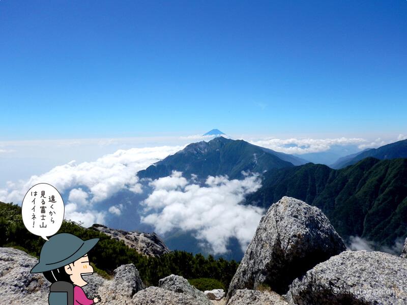 甲斐駒ケ岳山頂から見る富士山