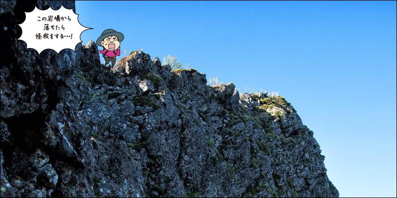岩場の上から見下ろす図