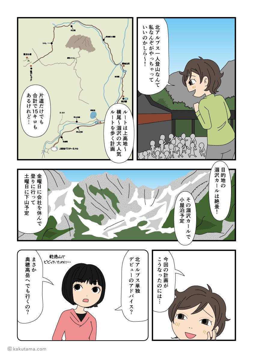 初めての北アルプス単独登山デビューの漫画2